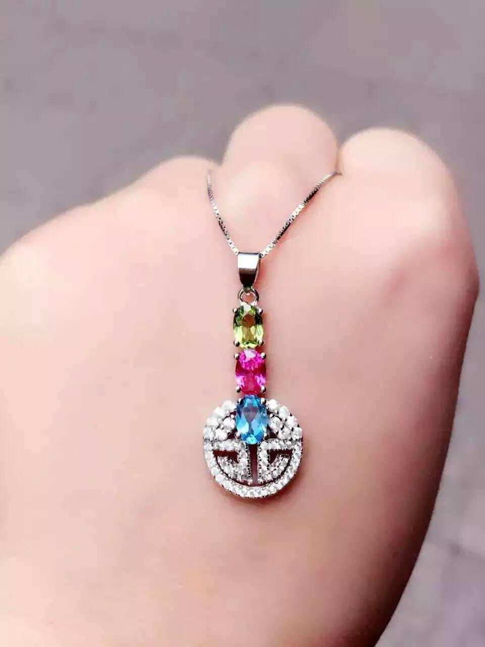 Pierre de topaze naturelle pendentif S925 argent péridot naturel pendentif collier à la mode mince chanceux pièces femmes fille bijoux