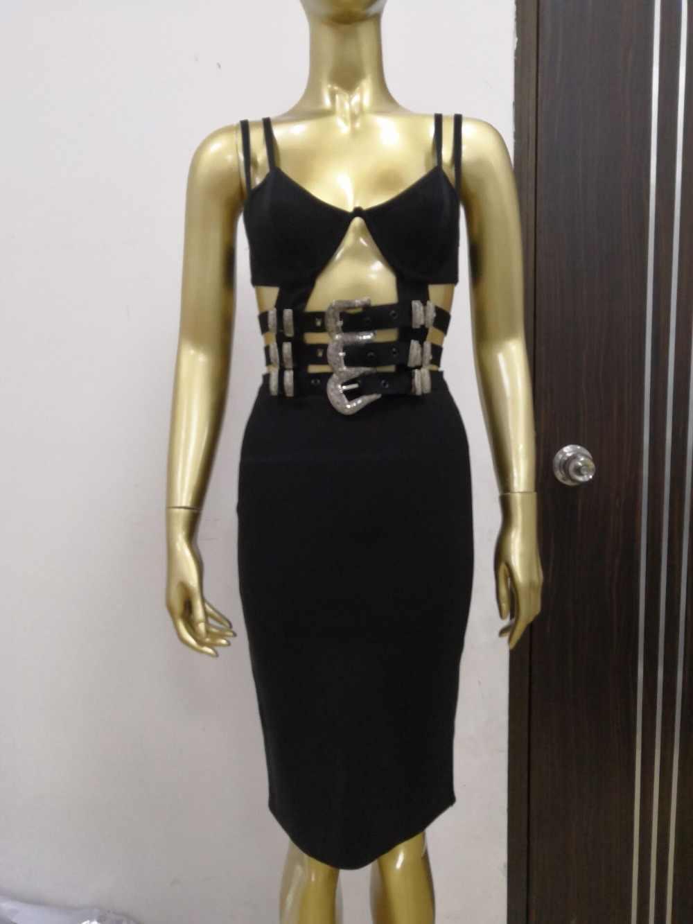 高品質セレブ黒スリップセクシーなベルト膝丈レーヨン包帯ドレスイブニングパーティーボディコンドレス