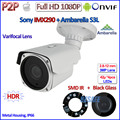 H.265 Outdoor 1080P IP Cam IMX290 Sensor 2MP Camera Ambarella Night Vision P2P telecamere IP, ONVIF, Varifocal Lens, HDR,Bracket