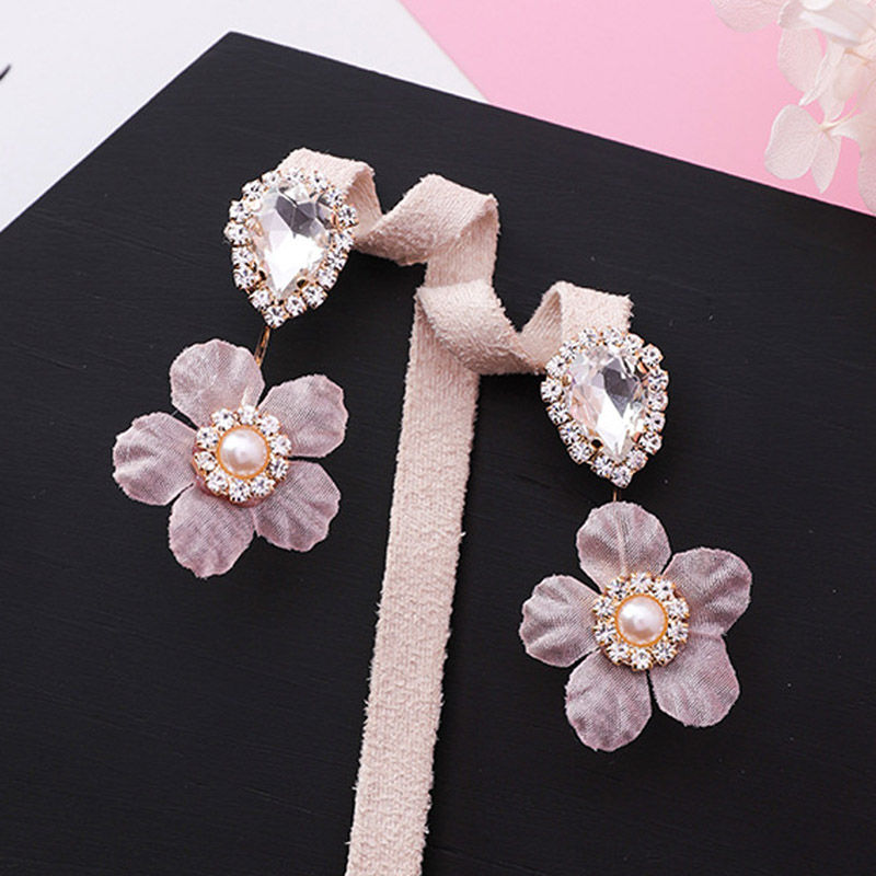 Korean Waterdrop Shape Shiny Zircon Crystal Stud Earrings Sweet Cue Fabric Cloth Lace Flower Earring for Women Wedding Jewelry