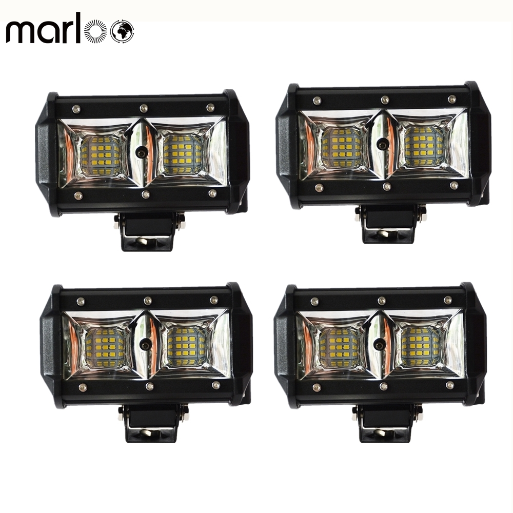 Marloo 4pcs 7 Inch 54W LED Light Pods Driving Fog Light Off Road Work Light Bar For Jeep SUV ATV Boat Pickup Truck Motorcycles