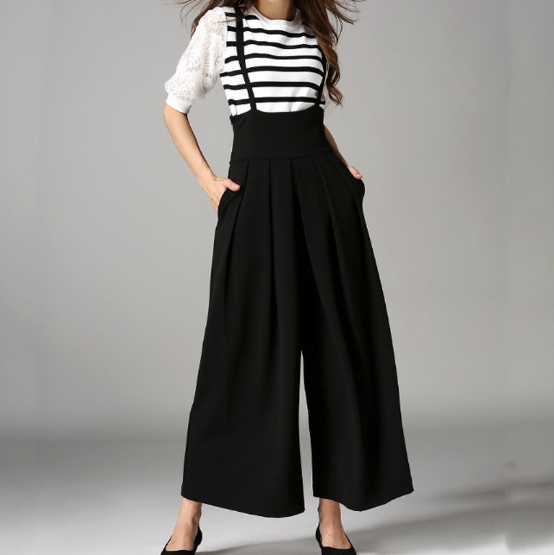 Fashion Back Cross Strap Wide Leg Overall Pants  Summer New Casual All Match Culottes Solid Color Elastic Waist Rompers