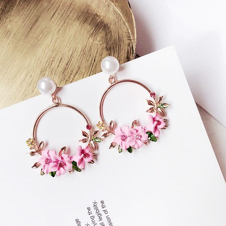 Koreai Új Kerámia Virágfülbevaló Brincos Kristály Kerek Pink - Divatékszer