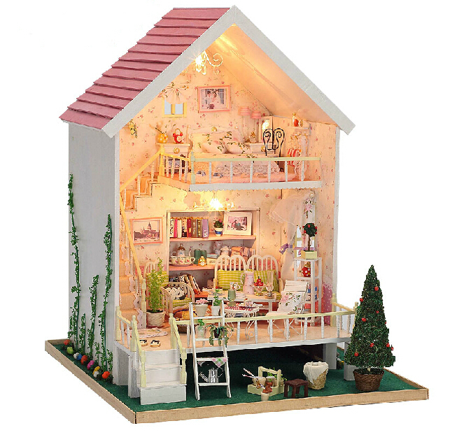 Christmas Gift Diy Doll House Assembling Handmade Model Building Kits Gift Belt 3D Miniature Wooden Dollhouse Toy Dolls free shipping assembling diy miniature model kit wooden doll house house toy with furnitures
