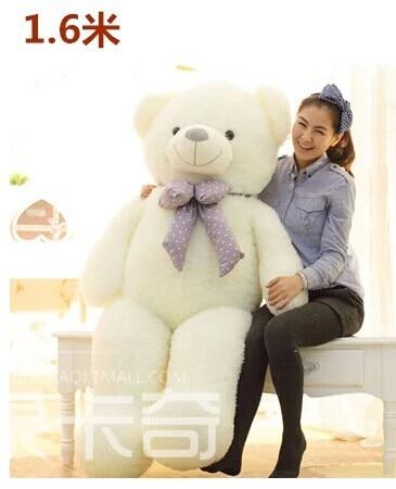 Stuffed animal 160cm white lovely Teddy bear plush toy bear doll girlfriend's gift w2093 stuffed animal 88 cm plush lying tiger toy white tiger doll great gift w493