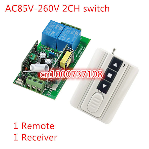 New AC 220V Relay 2CH Channel Wireless RF Remote Control Switch UP /DOWN/STOP latched remote control switch 315 433mhz 12v 2ch remote control light on off switch 3transmitter 1receiver momentary toggle latched with relay indicator
