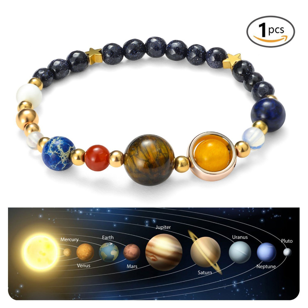 Universe Galaxy the Eight Planets in Solar System Guardian Star Bracelet Women Man Natural Stone Beads Stretch Bangle Gift
