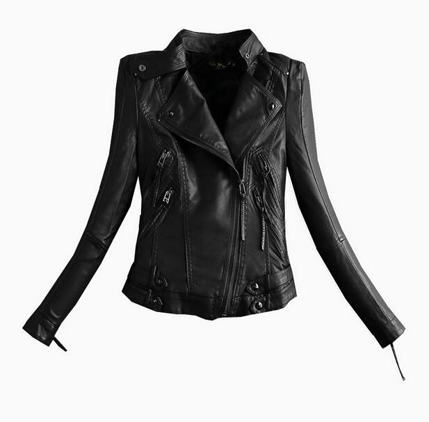New fashion high quality Women PU Jackets motorcycle Faux Leather Jacket short slim Black T1011
