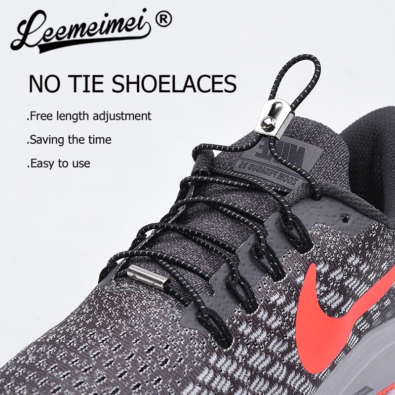 1 Pair Reflective Sport Elastic Shoelaces Lock No Tie Laces