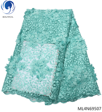 BEAUTIFICAL 3d green lace fabric for wedding dresses african 2019 high quality with flower design ML4N695