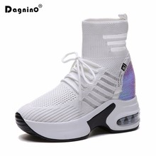 2019 Autumn Elastic Socks Boots Women Platform High Top Casual Shoes Mesh Breath