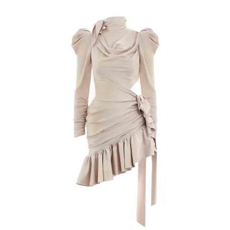Mujer Expuesto Corto Sexy Cuello Otoño Vestidos 1 Mini Alto 2 Ruffled Lazo Lujo De Marca Vestido Plisado Cintura 2018 Irregular wR8Iq