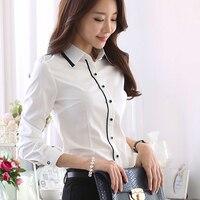 Plus Size S 5XL OL White Shirt Women Cardigan Office Ladies' Long Sleeve Tops Blue Slim Blouses & Shirts Women Work Shirt
