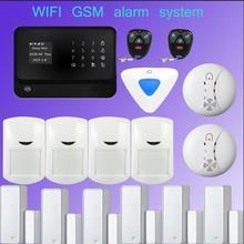 433mhz Multilingual wireless security gsm home house burglar intruder alarm with smoke detector  +Wireless indoor siren