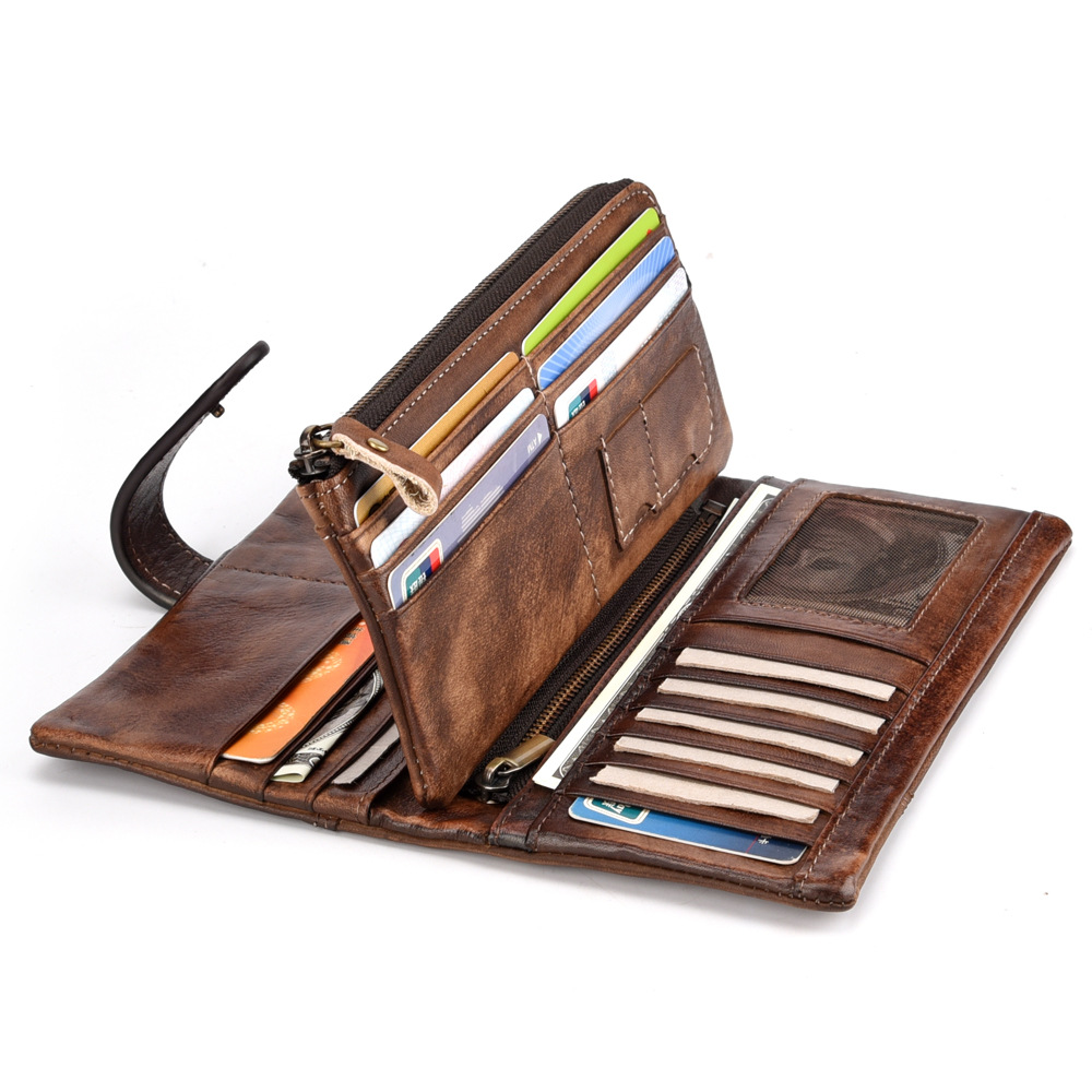 Genuine Leather Zipper Long Men Purse Large Capacity Male Cards Holder vintage Clutch Wallet Phone And Coin Pocket Carteira in Wallets from Luggage Bags