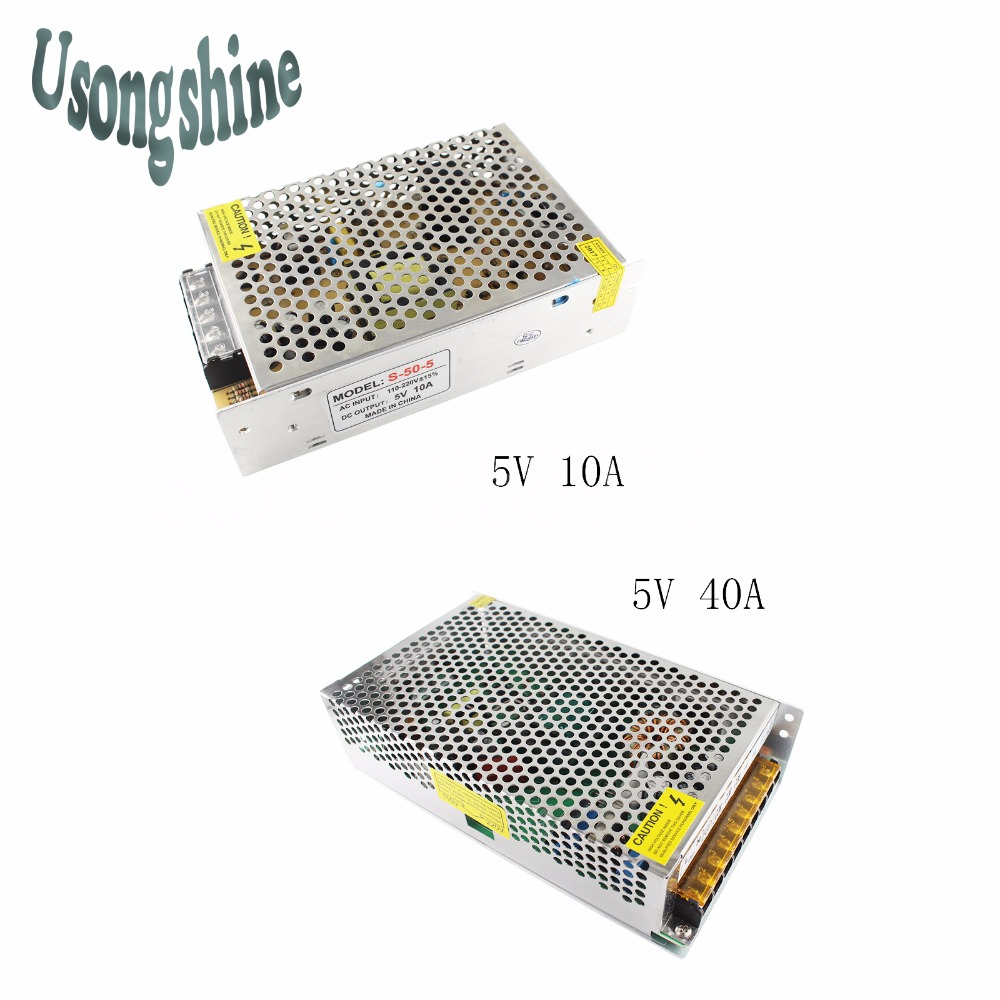 1pcs 5V 10A/40A 50W 200W Switch Power Supply Driver for LED Strip Lights AC 110-220V DC5V  LED Strip Power Adapter power supply 24v 800w dc power adapter ac110 220v non waterproof led driver 33a ups for strip lamps wholesale 1pcs