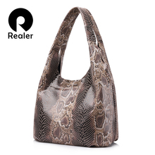 REALER brand genuine leather handbags women large tote bag classic serpentine prints shoulder bags ladies