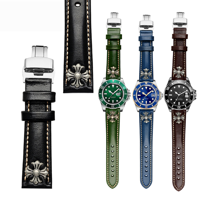 2018 new style 20 21 22mm leather watchbands with Stylish individual rivet Black Genuine Leather Watch Band deployment buckle cupless buckle rivet leather corset