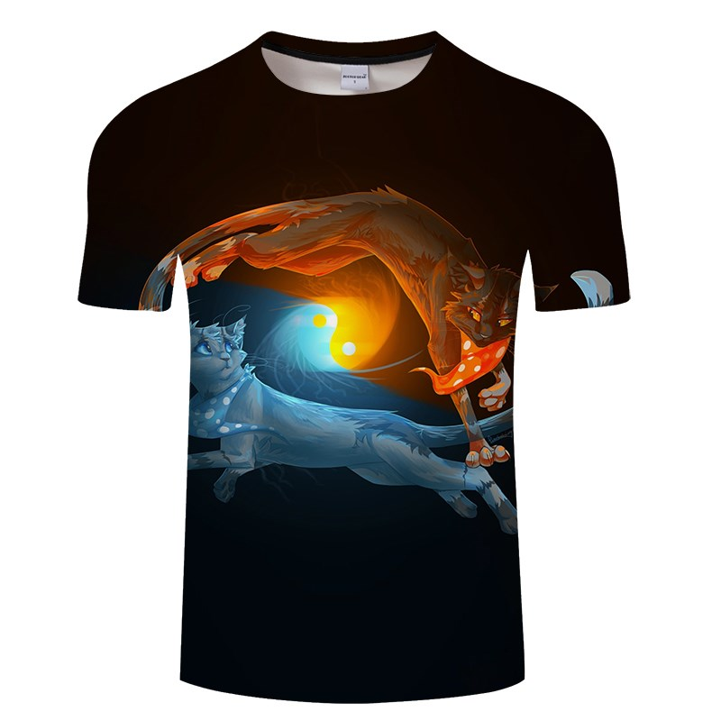 Черная футболка с 3D принтом кота для мужчин и женщин, летняя повседневная футболка с коротким рукавом и круглым вырезом, Топы И Футболки, Забавные футболки, Азиатские размеры S-6XL - Цвет: TXKH3157