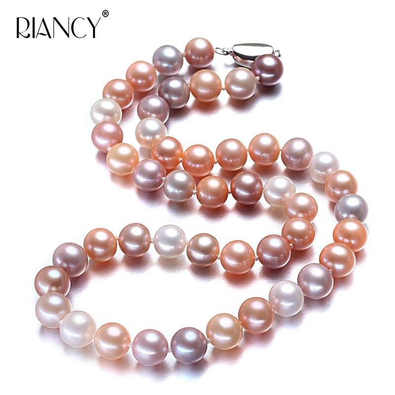 11-12mm Natürliche Süßwasser Perlenkette Für Frauen, Multicolor Gute Glanz Braut Runde Große Perle Necklce Um Zu Helfen, Fettiges Essen Zu Verdauen