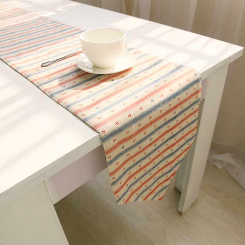 korean style cotton line dining table runners stripe. Black Bedroom Furniture Sets. Home Design Ideas