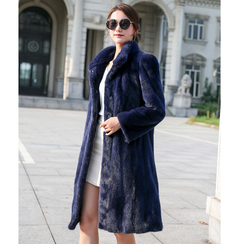 S Cothes Fourrure À Royal 6xl Nouvelle Vison Longues De Manteau Dames Femmes Bleu Trench Et Manches Mode Imitation coat Automne D'hiver Faux gxgBwrq