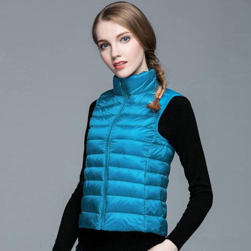 down     coat   vest women white duck   down     coat   jacket winter warm outwear 2017 new female   down   vest jacket tops plus size vest QH0970