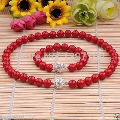 Miss charm Jew.105 8MM Genuine Coral Red South Sea Shell Pearl Necklace Bracelet A Set AAA+ (A0428)