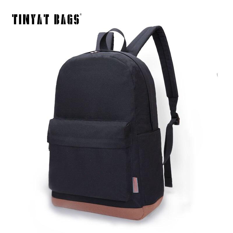 TINYAT Men 15 inch laptop backpack male computer school backpacks rucksacks leisure for teenage boys mochila Escolar Black1101