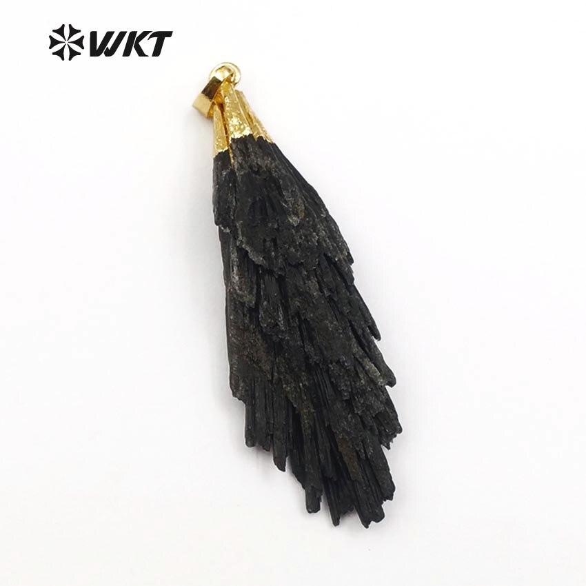 WT P790 Wholesale 5pcs Black Kyanite Pendant for Necklace natural black kyanite black stone random shape