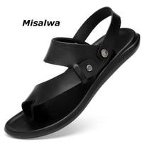 Misalwa New Arrival Men Flip Flops Fashion Black Leather Hot Summer Slipper Casual Lightweight Thongs 2019 Male Sandals Footwear