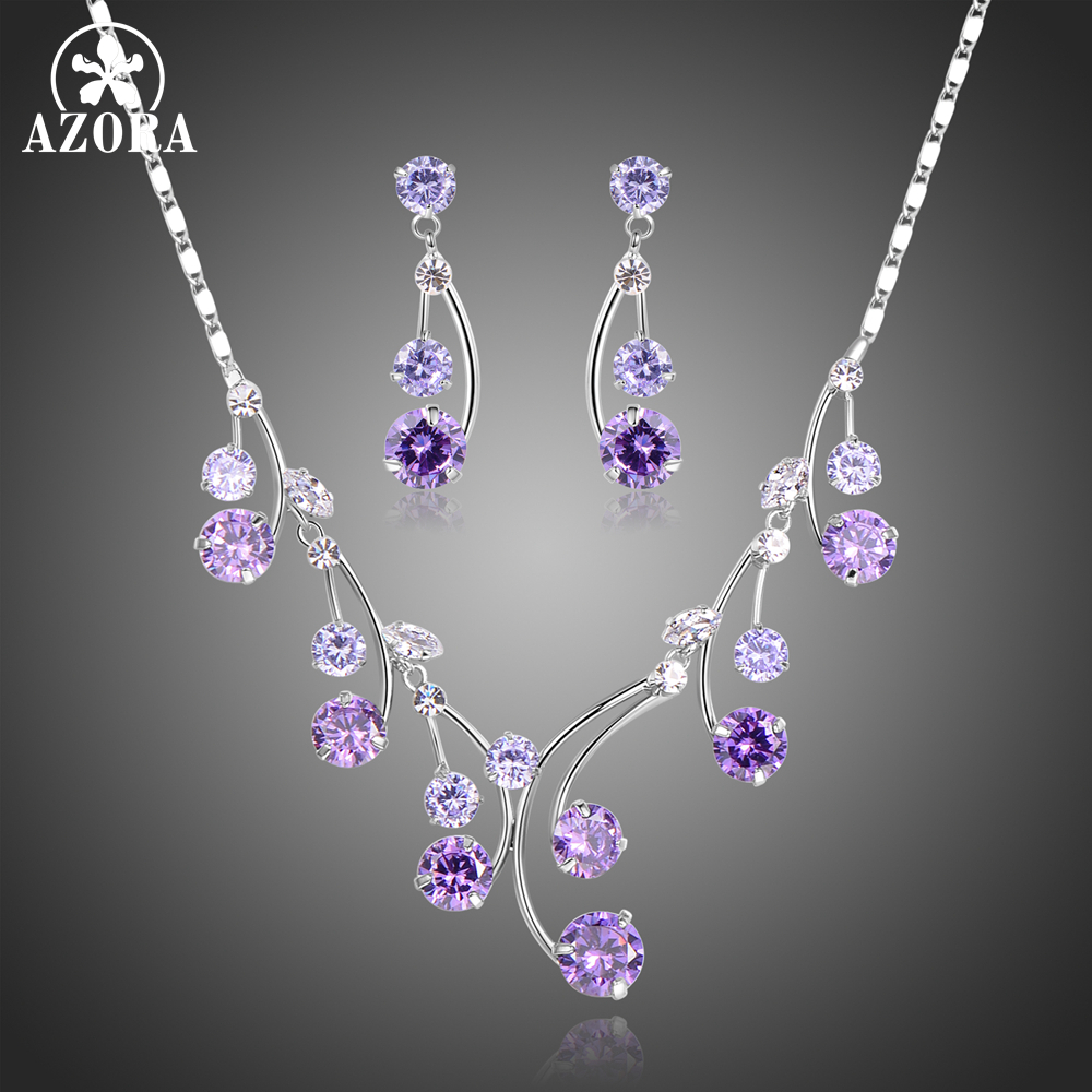 AZORA Round Purple Cubic Zirconia Water Drop Necklaces Earrings Jewelry Sets Wedding Engagement Jewelry Making TG0265