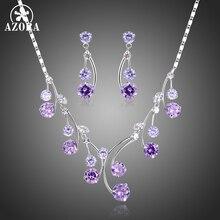 AZORA okrągła fioletowa sześcienna cyrkonia kropla wody naszyjniki kolczyki komplety biżuterii dla kobiet biżuteria zaręczynowa ślubna dokonywanie TG0265