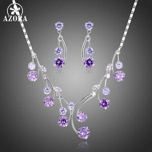 Image 1 - Женский комплект украшений AZORA, набор из ожерелья и сережек с фиолетовыми Фианитами, Свадебный комплект для помолвки, TG0265