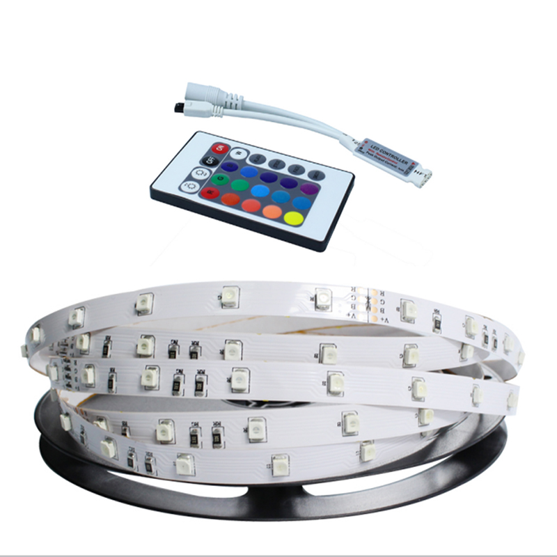 5M 300LEDs RGB LED Strip Light 2835 SMD 12V Flexible Light RGB LED Tape Home Decoration Lamps Changeable 24key Remote Controller