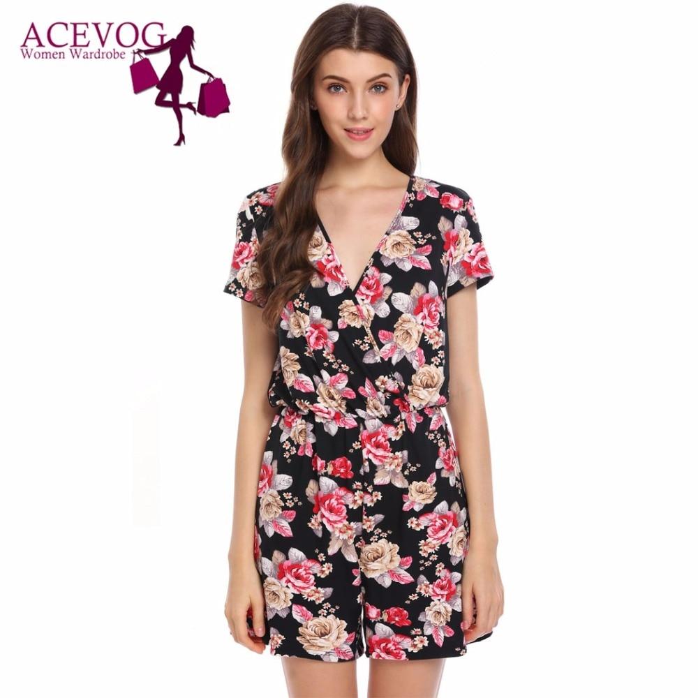 ACEVOG Women Playsuits Deep V-Neck Short Sleeve Summer Autumn Floral Print Slim Romper Ladies jumpsuit Casual Feminino Macacao