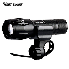 WEST BIKING Bicycle Light USB Rechargeable Focusing Flashlight Waterproof Cycling Front LED Light Bright Torch Lamp Bike Lights west biking waterproof bike helmet light usb rechargeable bicycle handlebar lights safety road bike mountain cycling front light