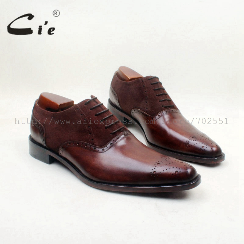 cie Pointed Toe Bespoke Custom Handmade Calf Leather Breathable Brown Mix Colors Men's Dress/casual Oxford Lace-Up shoe OX707 cie square toe lace up custom handmade mens leather shoe bespoke calf leather breathable men s oxford patina dark brown ox 02 11