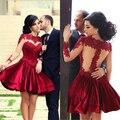 Elegant Cocktail Dress Red Satin Applique Beaded Vestidos De Festa Sheer Long Sleeves Mi-Ni Party Gowns D25