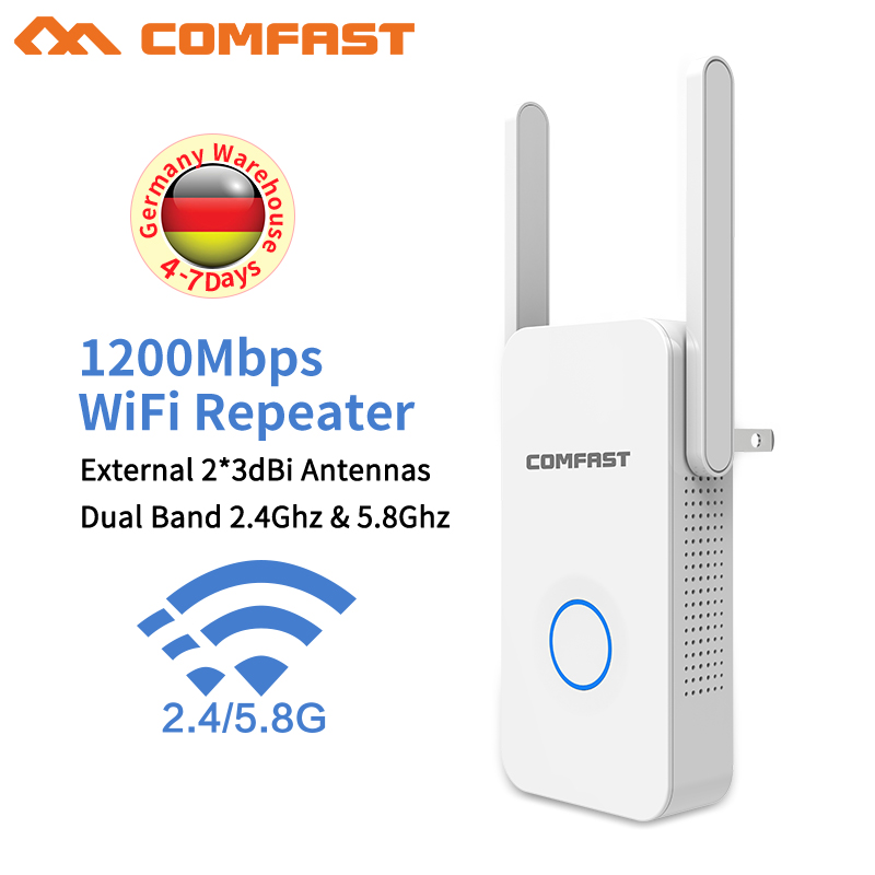 2018 New~ WIFI Router Wifi repeater 11AC Dual Band 1200Mbs Comfast Wireless WI FI Router Extender amplifier English firmware comfast 1200mbps usb3 0 wi fi dual band 802 11ac a b g n wireless n 11ac 2 4g 5 8g wifi adapter rtl8812 network pc wifi receiver