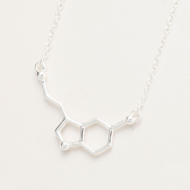 yiustar 2017 Serotonin Molecule Pendants Necklace For Women Chemistry Chokers Collar Elegant Simple Gold Silver Necklace XL012 2