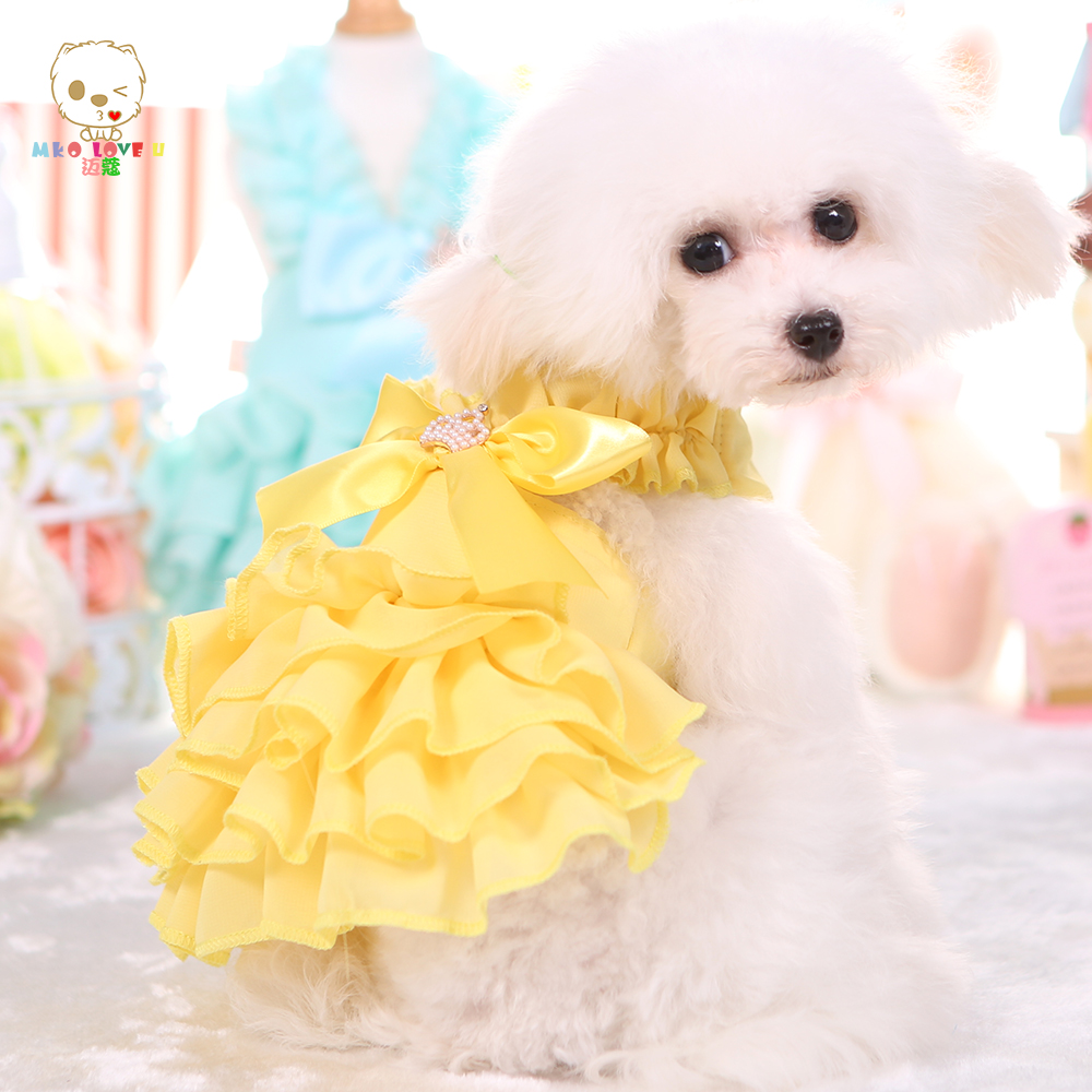 Small dog wedding dress pet clothes for dogs and cats for Wedding dress for dog