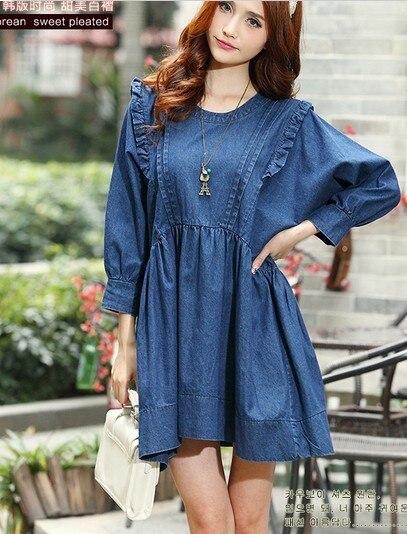 Blue Cotton Denim Casual Big Size Design Girl Cute Dresses Women ...