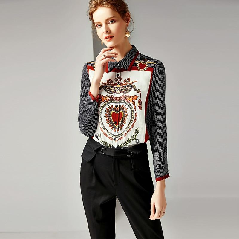 Runway Designer Women 100% Real Silk Blouses and Shirts 2019 Spring Elegant Long Sleeved Dot Vintage Print Office Blouse Tops