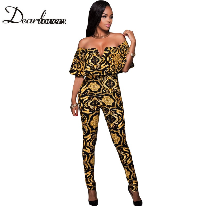 Dear lover Black Yellow Tapestry Print Belted Rompers Womens Jumpsuit Mono Mujer Largo Elegante Off Shoulder