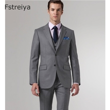 Pure wool customized men groom suits with pants Custom made mens clothing for wedding slim fit 2018 2 piece (jakcet pants)