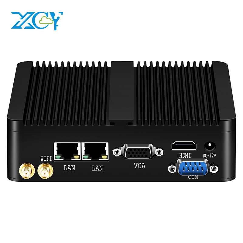 XCY Intel Celeron J1900 Mini PC Fanless Windows 10 Linux Dual Gigabit Ethernet WiFi HDMI VGA RS232 4*USB Industrial Micro PC