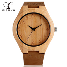 YISUYA High Quality Wood Bamboo Watches Men Women Quartz Movement Casual with Leather Strap Clock Gifts relogio masculino