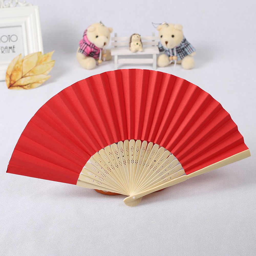 Hot 7 inch folding paper Fan Pattern Folding Dance Wedding Party Lace Silk Folding Hand Held Solid 11 Color Fan