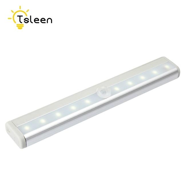 In 10led Us17 8910led Batterijusb Closet Lamp Kast Bewegingssensor Keuken Energiebesparende Strip Night Led Onder Kledingkast Licht BreWdxoC